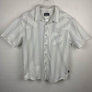 Patagonia White Gray Striped Short Sleeve Shirt